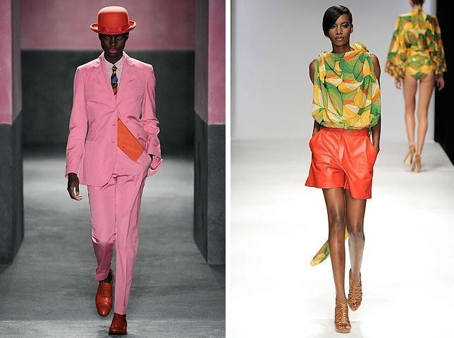 Running tings... Jamaican models Jeneil Williams (left) and Sigail Currie (right) on the runways of London Fashion Week./ Photo credit: Style.com