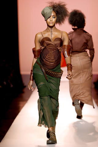 Jourdan walked the Jean-Paul Gaultier show when she was 6 months pregnant. Photo credit: Style.com