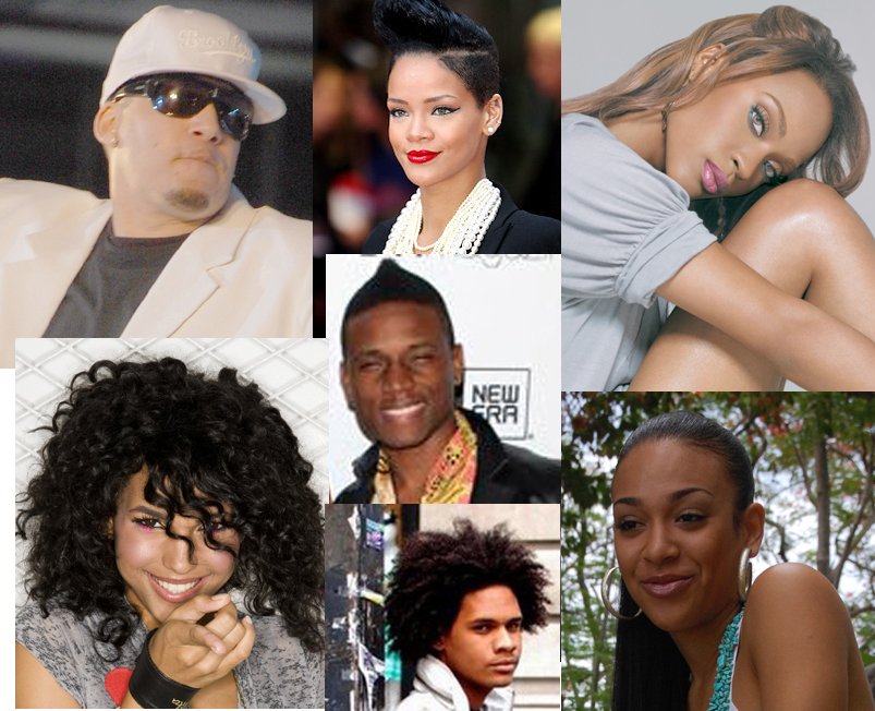 Clockwise from left - Rupee, Rihanna, Shontelle, Livvi Franc, Jaicko, Vita. In the center - Hal Linton