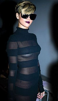 Using lots of tit tape and (please god) nude underwear at Gareth Pugh. And nice dark lippie too.