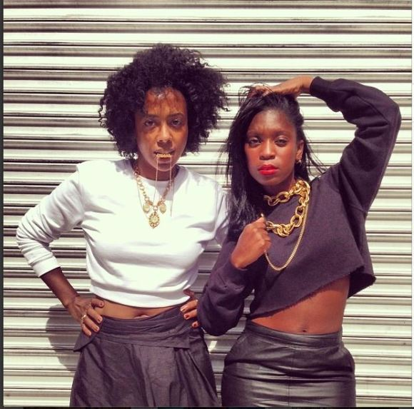 Haitian chicks Nicole Chapoteau and Rajni Jacques showing their style.