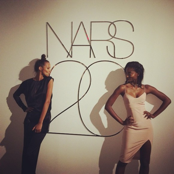 Martiniquan model Melodie Monrose (right) in a playful pose-off with Brazilian model Lais Ribeiro at the Nars Cosmetics' 20th anniversary party.