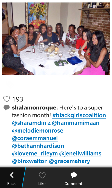 Shala Monroque attended the #BlackGirlsCoalition dinner and posted this pic on IG.