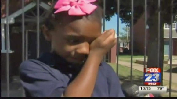 "Tiana Parker in tears because the management of her school ""didn't like my dreads."""
