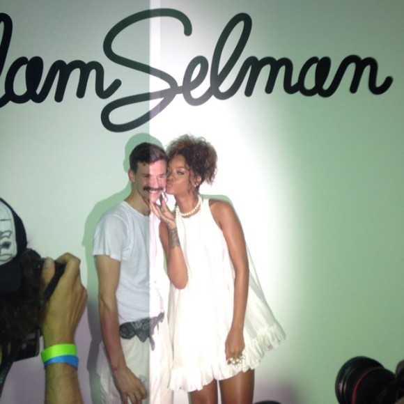 Rihanna's bestie Melissa Forde (@mdollas11) captured her showing some love for her long-time designer Adam Selman at his show - wearing a straight-off-the-runway SS15 Adam Selman dress of course!