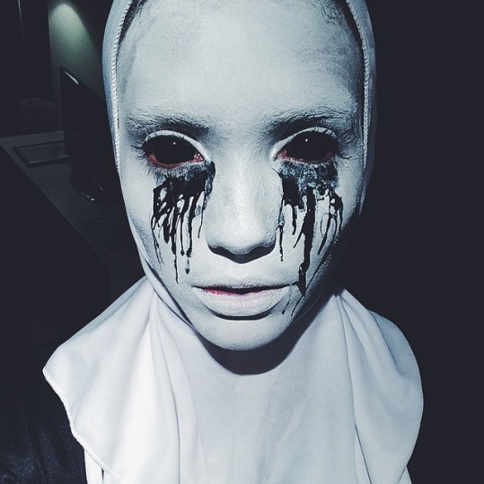 Martiniquan model Cora Emmanuel showed her theatrical makeup skills with her costume from American Horror Story. (Instagram)